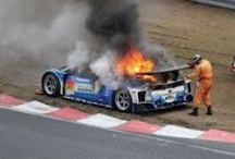 race car on fire